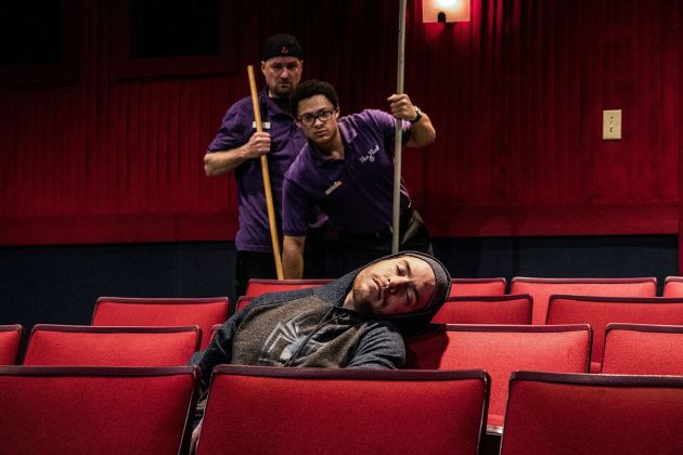 """Christopher Bohan (from left) as Sam, Gordon Hinchen as Avery, and Nate Miller as Dreaming Man in """"The Flick"""". Photo / Steve Wagner Photography"""