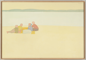 """Lincolnville Beach,"" 1956. Alex Katz (American, b. 1927). Oil on canvas; 122.4 x 178.6 cm. Whitney Museum of American Art. Art © Alex Katz / Licensed by VAGA, New York, NY."