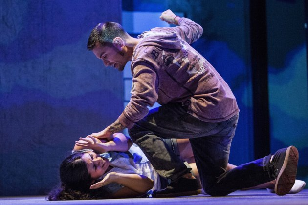 "Tania Benites and Jason Estremere in Tlaloc Rivas' ""Johanna Facing Forward,"" which was part of Cleveland Public Theatre's Teatro Publico de Cleveland. The play was based on the story of Johanna Orozco, a Cleveland teenager who survived a gunshot wound to the face from her abusive boyfriend. Photo 