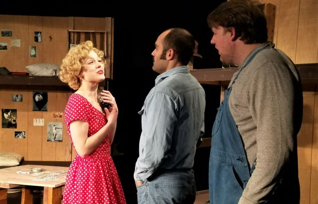 "Tess Burgler as Curley's wife, from left, Joe Pine as George and Derrick Winger as Lennie in Coach House Theatre's production of ""Of Mice and Men."" Photo / Fred Sternfeld"