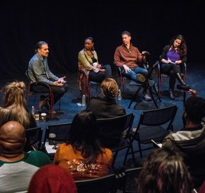 Raymond Bobgan, left, leads a discussion during Cleveland Public Theatre's Entry Point 2018 Festival of New Work. Photo Steve Wagner / Cleveland Public Theatre