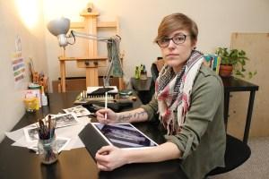 Kaetlyn McCafferty in her Lakewood home studio.