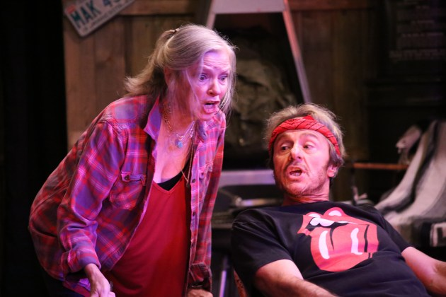 """Anne McEvoy as Lorraine and Paul Floriano as Jeeter in none too fragile theatre's """"The Last of the Boys."""" Photo by Brian Kenneth Amour."""