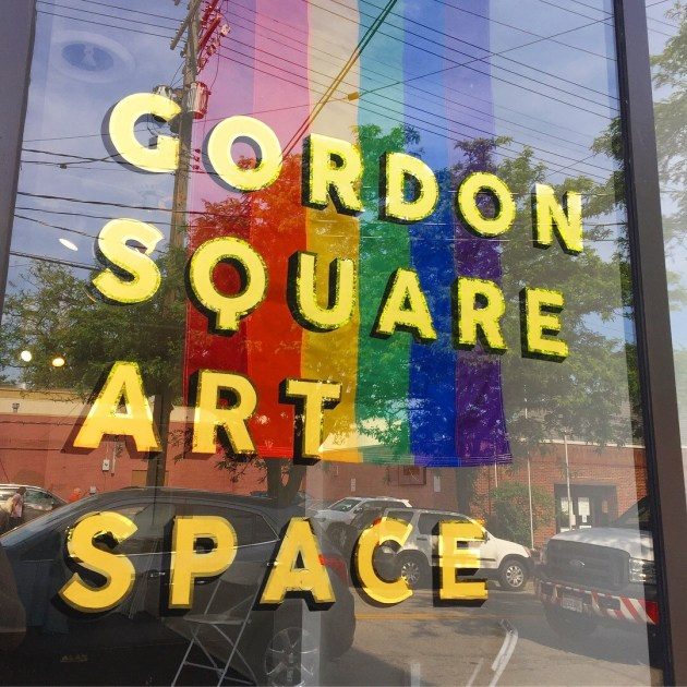 Gordon Square Arts Districts' recently installed Gordon Square Art Space, where emerging artists can display their work in a 300-square-foot studio. Photo by Gordon Square Arts District.