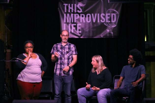 From left, Dionne Atchison, James Catullo, Deena Nyer Mendlowitz and Joe Lewis perform at This Improvised Life, an event held every third Wednesday at Happy Dog at The Euclid Tavern in Cleveland.