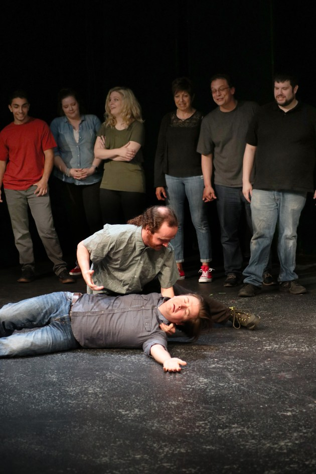 In the foreground, from top, Ruben Ryan and Matt Dolan perform as part of Something Dada at the Beck Center for the Arts in Lakewood. Something Dada members enjoying the performance in the background are, from left, Bobby Urse, Britta Will, Jeanette Stinger, Denise Abboud, Mike Herzog and Jon Knight.