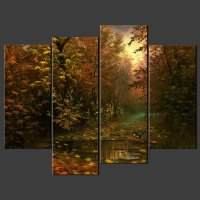 BIRDS IN FOREST SPLIT CANVAS WALL ART PICTURES PRINTS ...