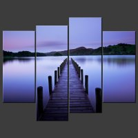BLUE LAKE CANVAS WALL ART PICTURES PRINTS DECOR LARGER ...