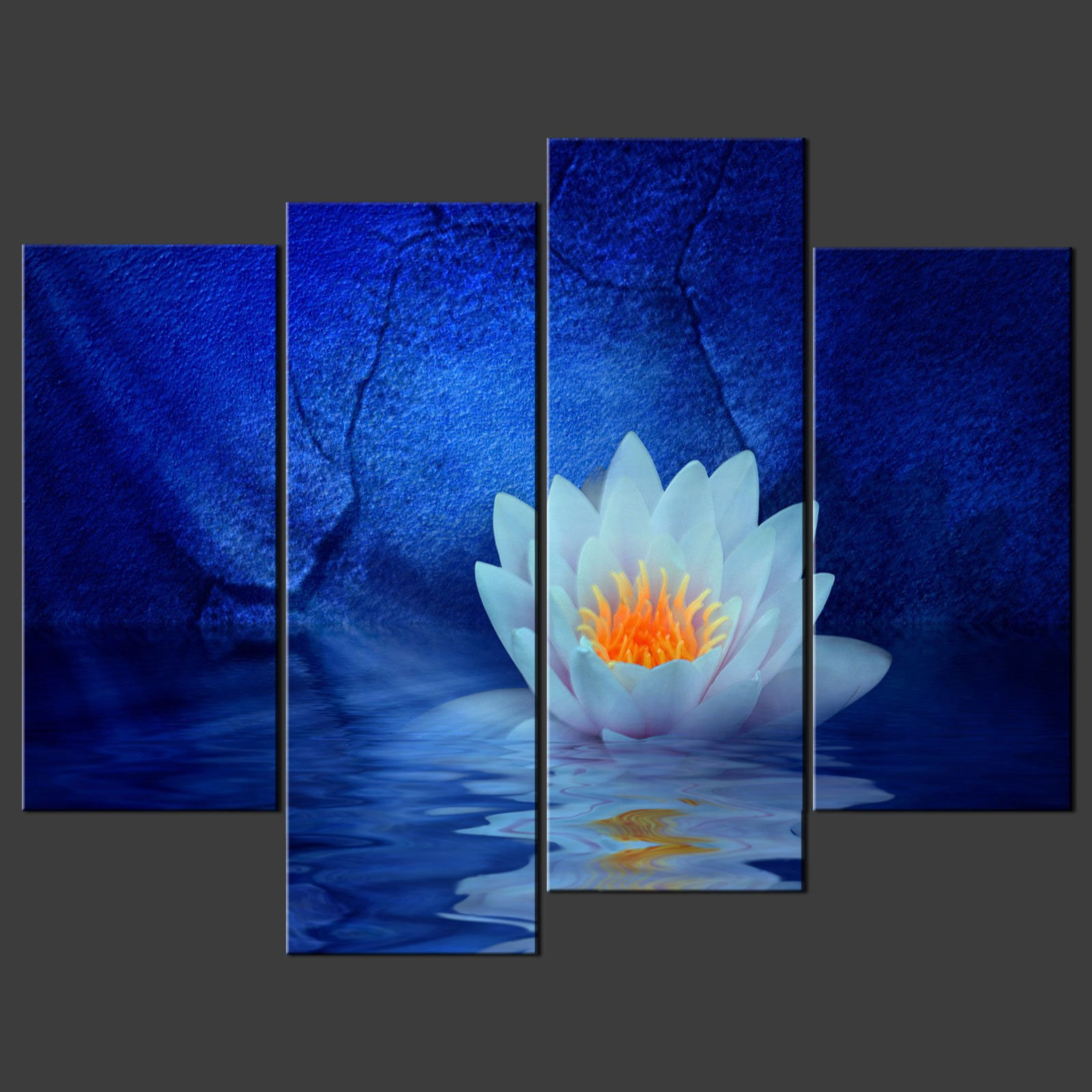 Canvas Wall Prints Blue Water Lily Canvas Wall Art Pictures Prints Decor