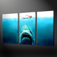 JAWS THREE PANEL SPLIT CANVAS WALL ART PICTURES PRINTS ...