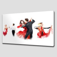RED ABSTRACT DANCERS LARGE CANVAS WALL ART PICTURE PRINT ...