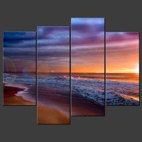 Sunset Beach Canvas Wall Art - sunset canvas | ebay with ...