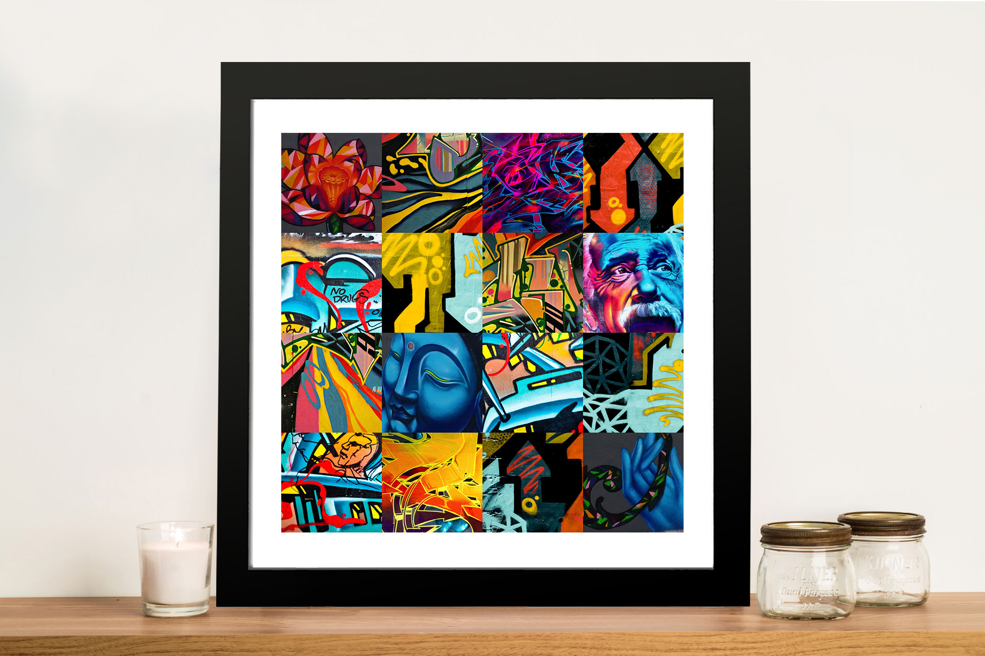 Collage Frames Australia Graffiti Collage The Buddha Canvas Print Artwork Australia