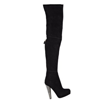 Brian Atwood thigh high boot pumps platform with detailed heel