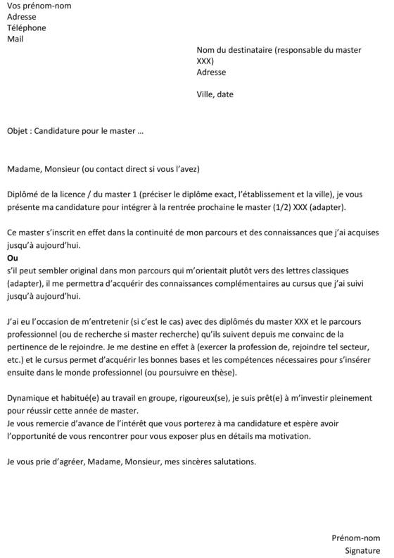 exemple cv pour candidater master meef