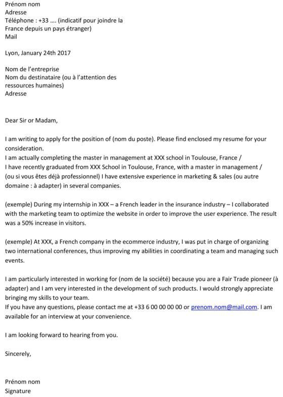 Le modèle parfait pour une lettre de motivation en anglais - Capitalfr - modele lettre de motivation