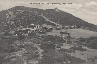 View of the Old Cape Point lighthouse, from where the present day parking lot is located.