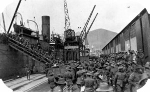 Australian troops disembarking at Cape Town South Africa on their way home to Australia ca. 1918