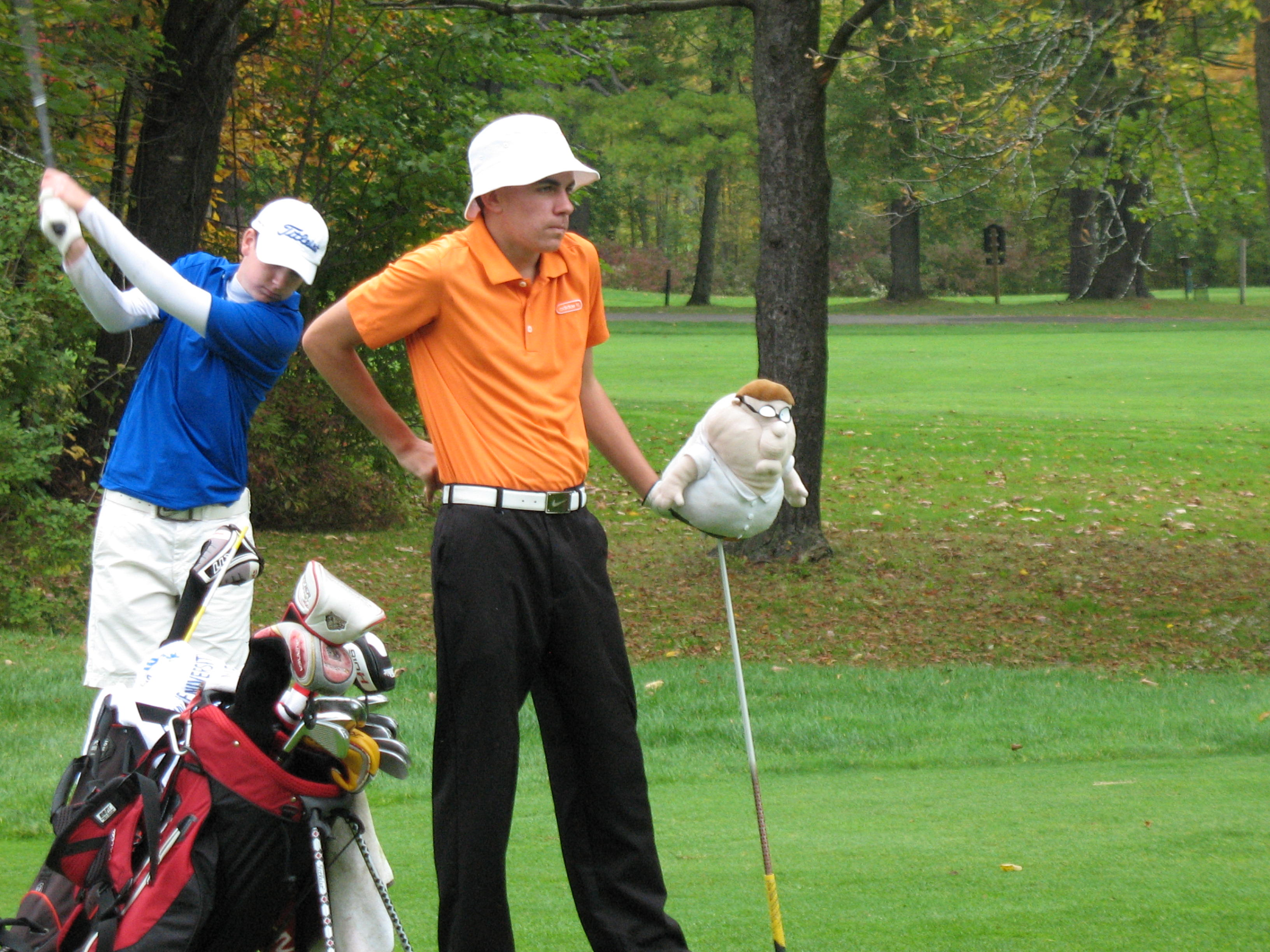 """Jeff Palmerino and his """"Family Guy"""" headcover."""