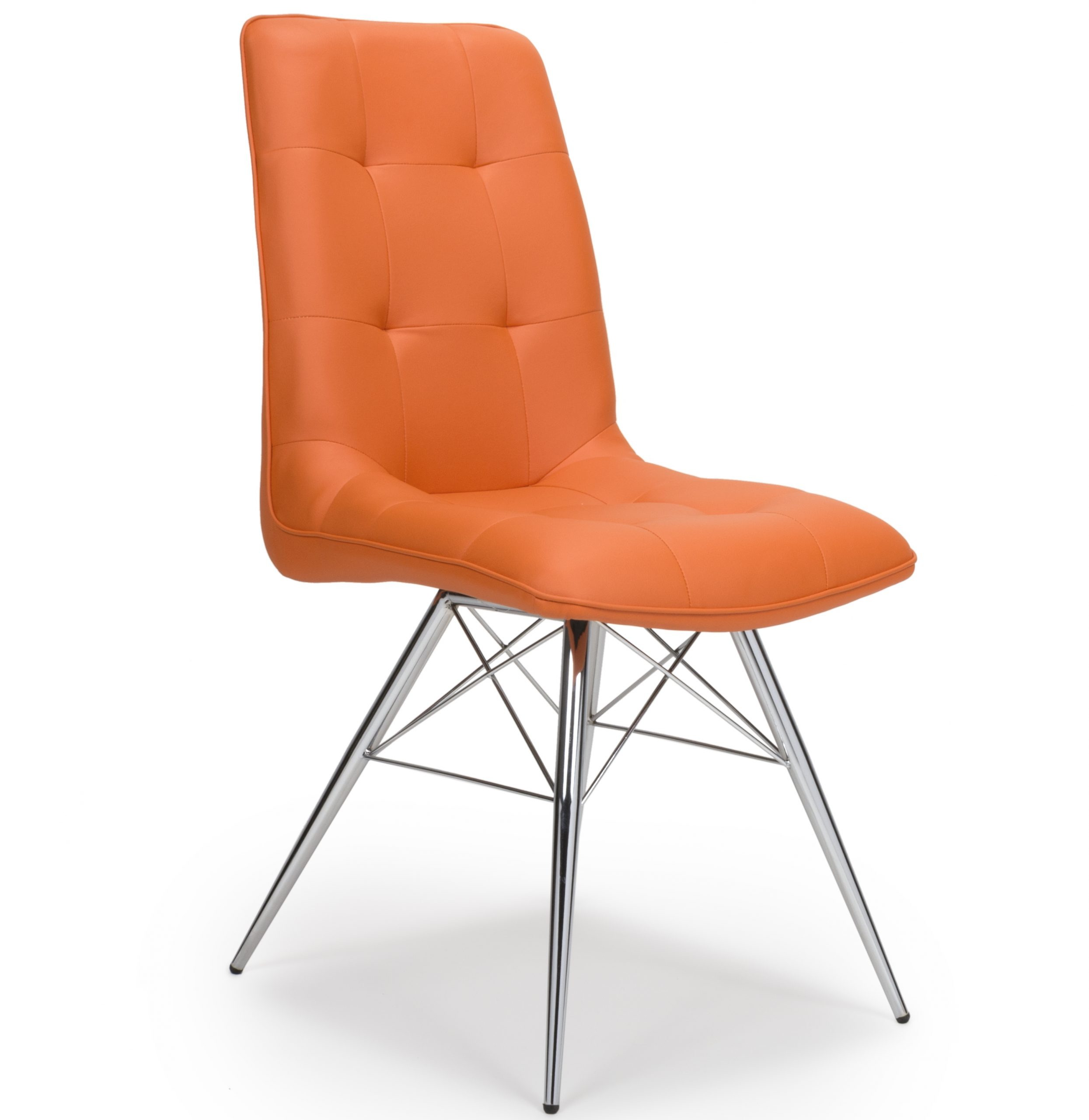 Chair Eames Tampa Orange Leather Eames Style Modern Dining Chair