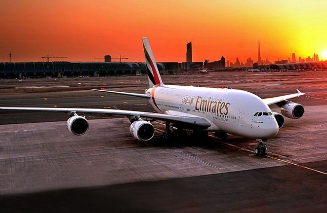 Airbus A380 de Emirates: despegue y aterrizaje