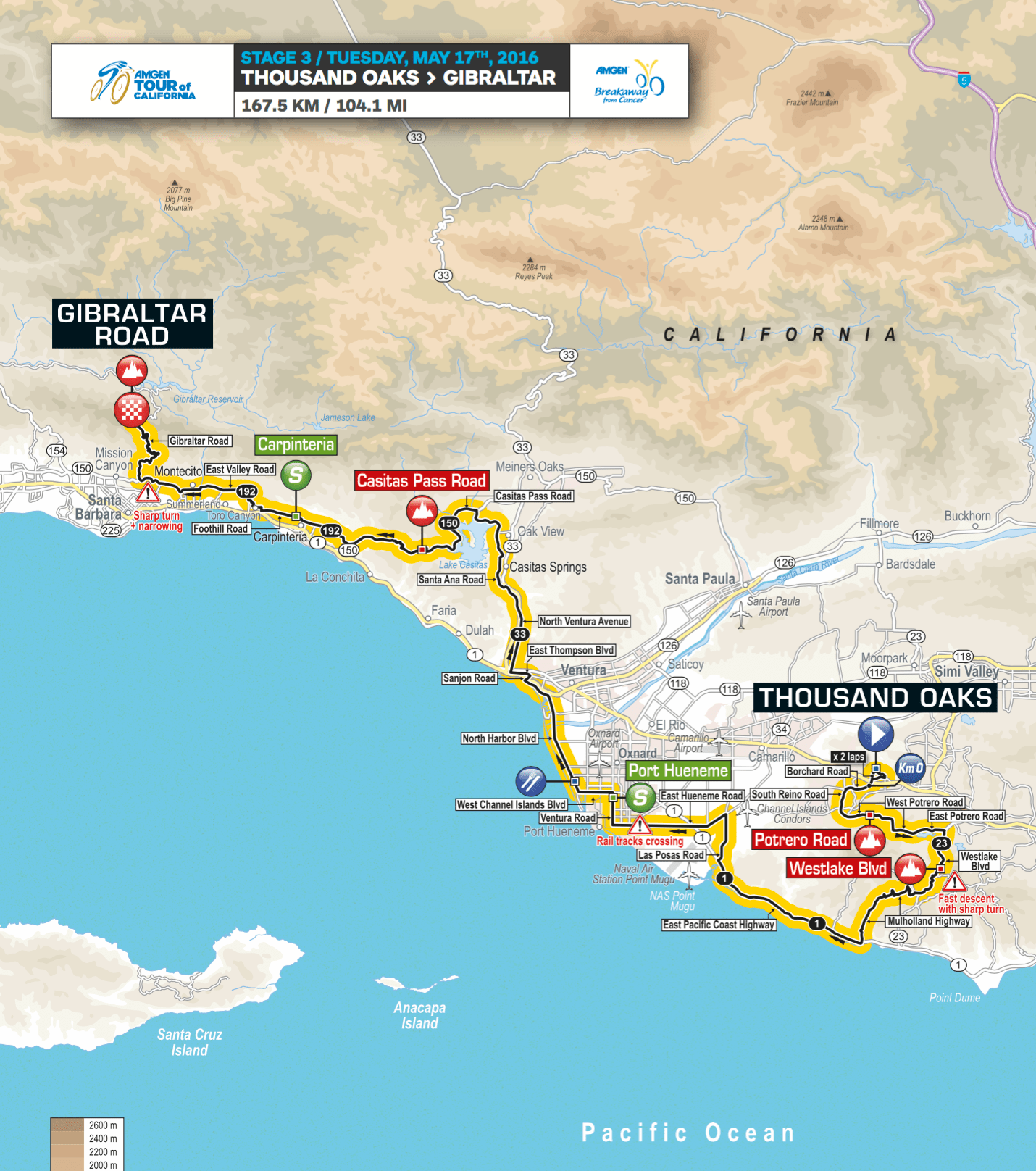 Amgen Tour Of California  Route Map