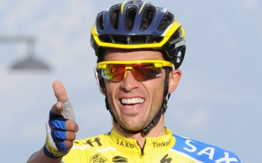 AREZZO, ITALY - MARCH 15:  Alberto Contador of Tinkoff Saxo crosses the finish line and wins stage four of the 2014 Tirreno Adriatico, a 244 km stage from Arezzo to Cittareale on March 15, 2014 in  Arezzo, Italy.  (Photo by Giuseppe Bellini - Velo/Getty Images)