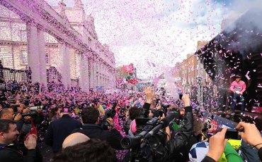 Cycling: 97th Tour of Italy 2014 / Stage 3  Podium / MATTHEWS Michael (AUS) Pink Jersey Celebration Joie Vreugde Public Publiek Spectators /  Armagh - Dublin (187Km)/  Giro Tour Ronde van Italie Etape Rit /(c) Tim De Waele