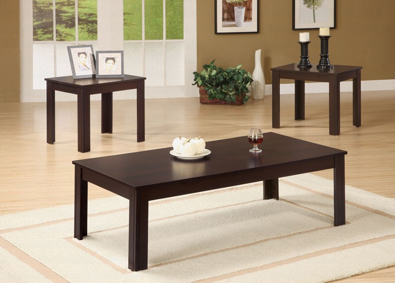 Korina Dark Brown 3 Piece Coffee \/End Table Set - Coffee Table - 3 piece living room table set