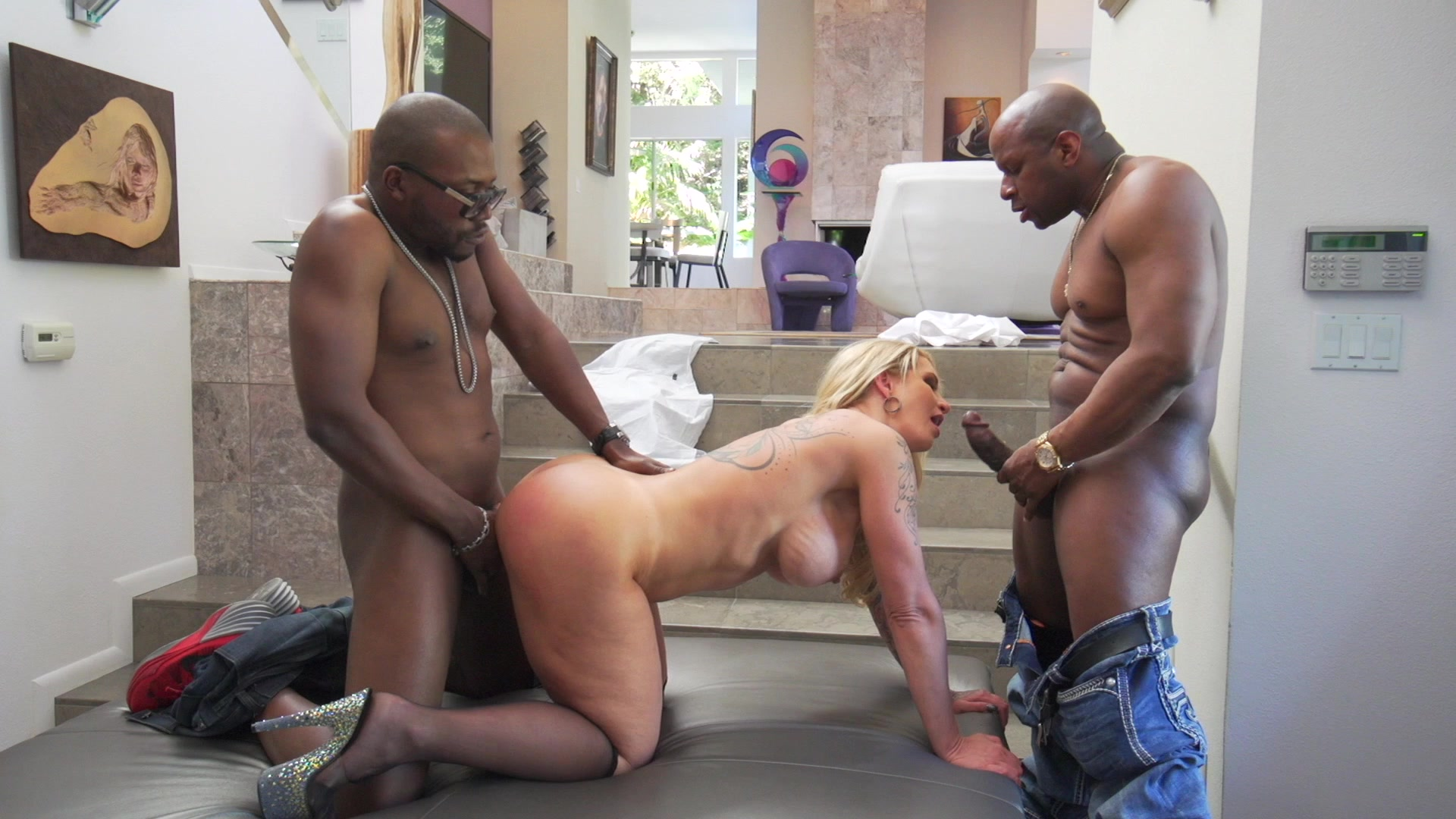 Tattooed Blonde MILF Ryan Conner Takes Two Big Black Cocks at Once Starring:  Ryan Conner