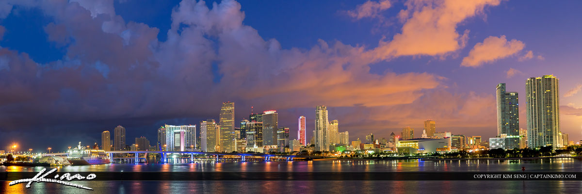 miami skyline wide panorama downtown cityscape