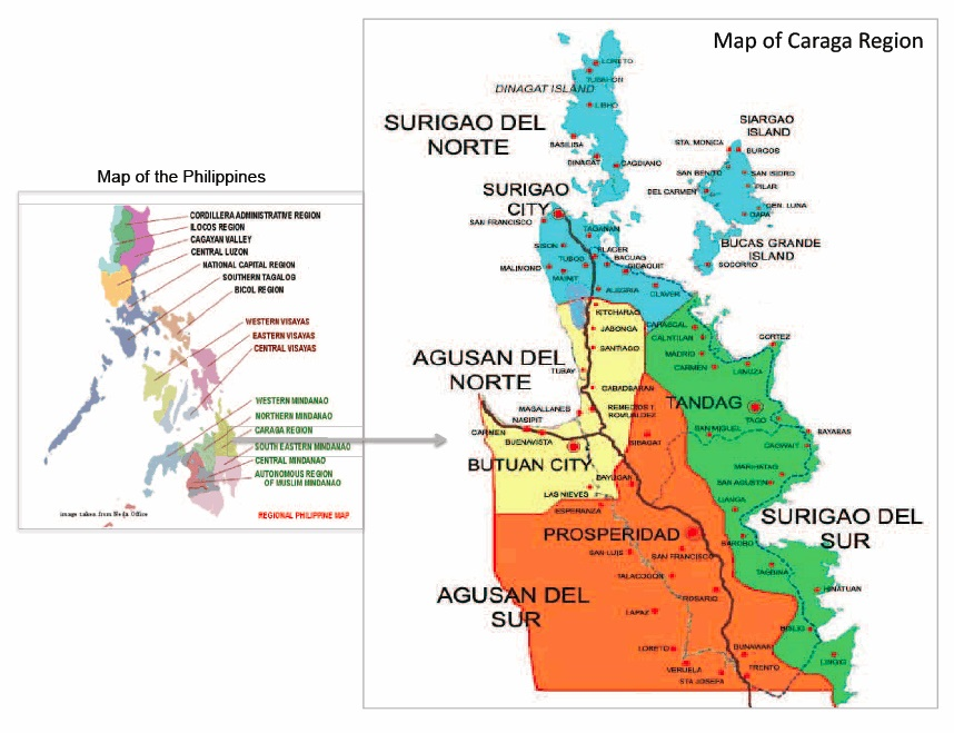 caraga region map