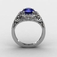 Italian 950 Platinum 1.0 Ct Blue Sapphire Diamond