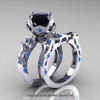 Modern Antique 14K White Gold 3.0 Carat Black Diamond Blue ...
