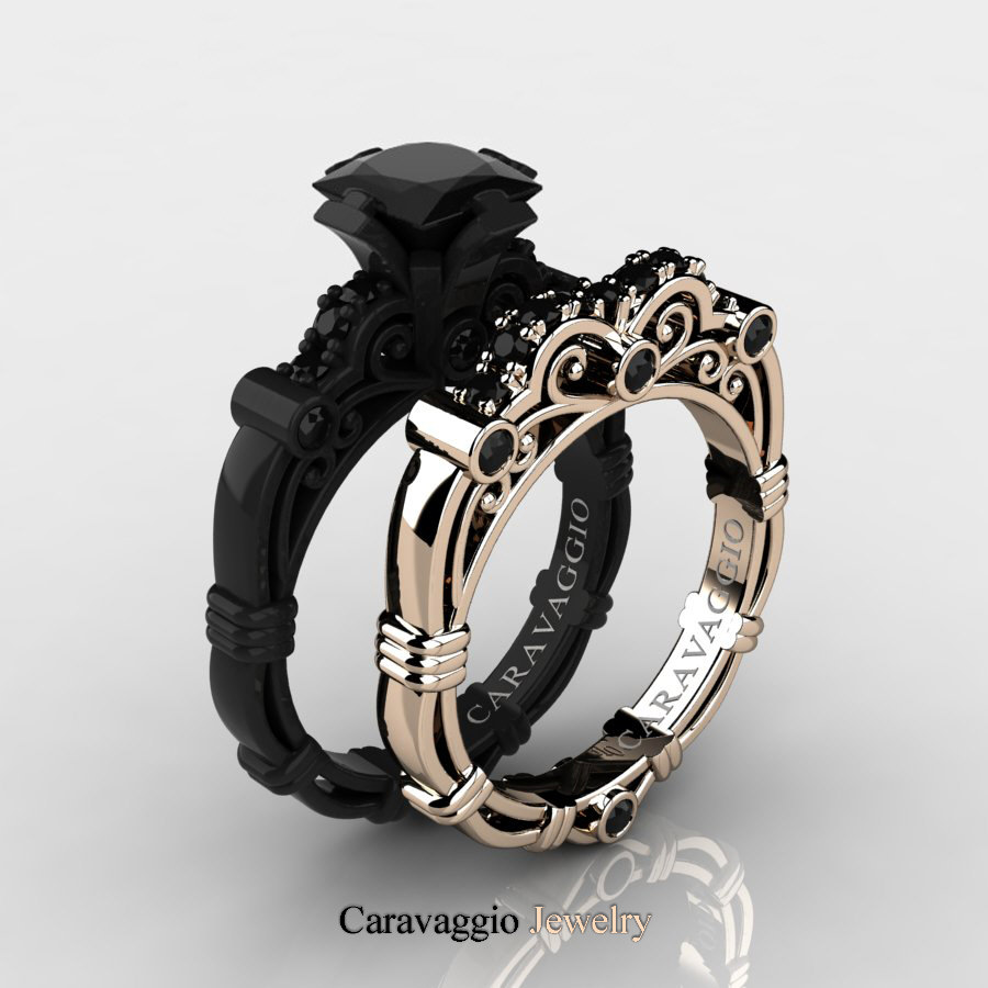 Black Diamond Caravaggio 14k Black And Rose Gold 1 25 Ct Princess Black Diamond Engagement Ring Wedding Band Set R623ps 14kbrgbd