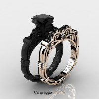 Caravaggio 14K Black and Rose Gold 1.25 Ct Princess Black ...
