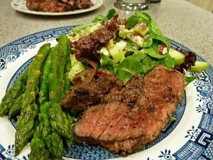 Perfect Grilled Steak with Asparagus and Chopped Salad