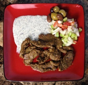 Low Carb Lamb Shawarma with Tsatsiki Dip & Olives