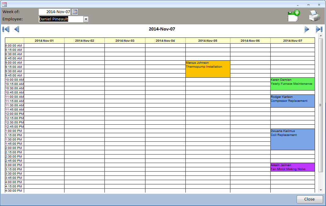 MS Access - Appointment Calendar / Daily Planner / Technician