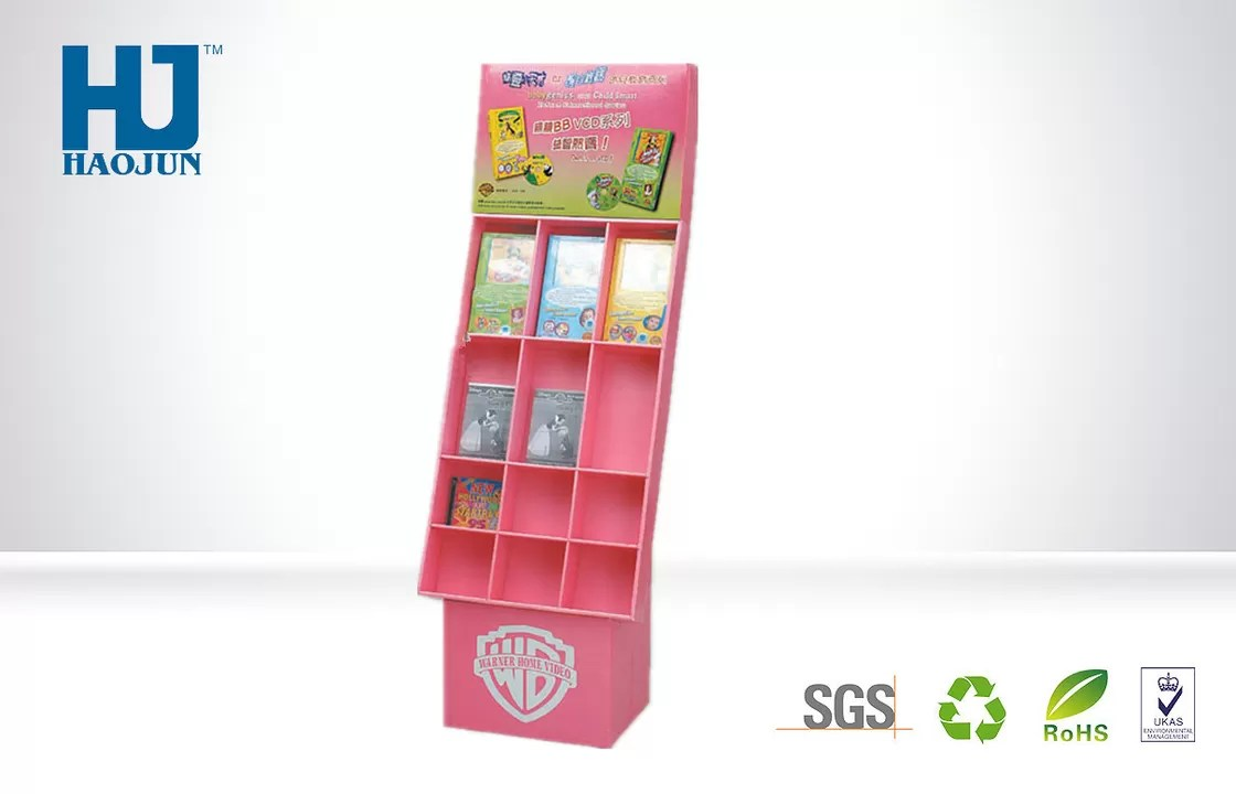 Book Display Stand Gift Customized Pink Floor Comic Book Display Stand Cardboard Material