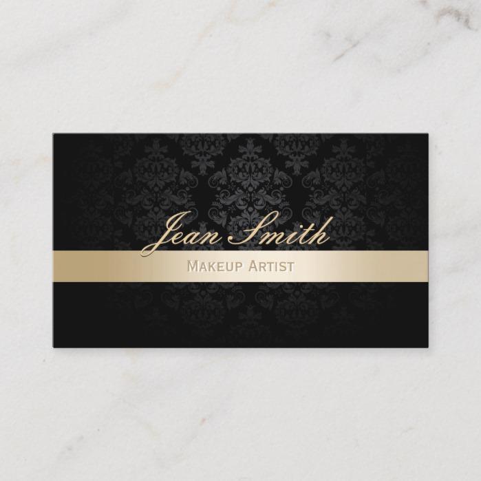 Makeup Artist Gold Striped Black Damask Business Card - Business