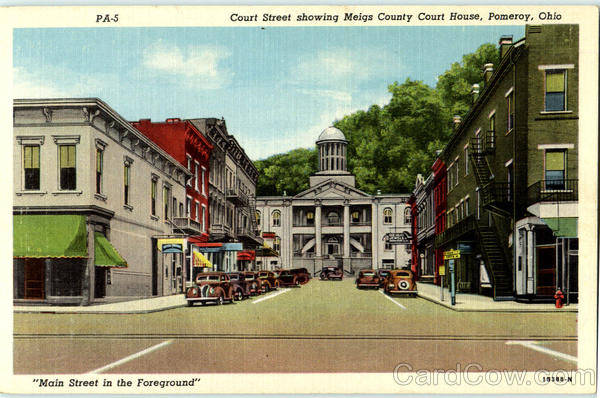 Card Games Court Street Showing Meigs County Court House Pomeroy, Oh