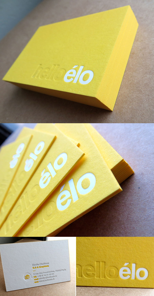 Yellow Letterpress Business Card CardObserver - letterpress business card