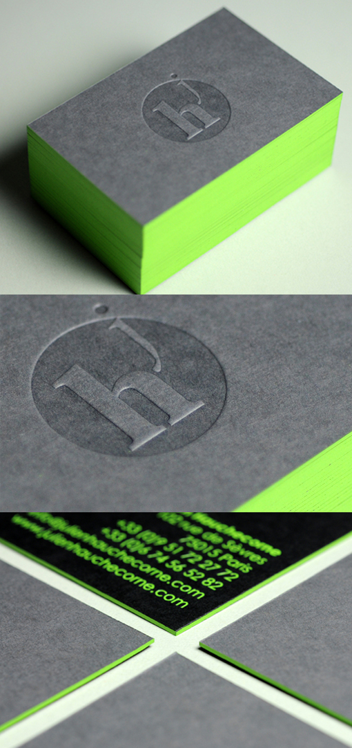 Eye Catching Black Letterpress Business Card With Neon Green Edge - Letterpress Business Card