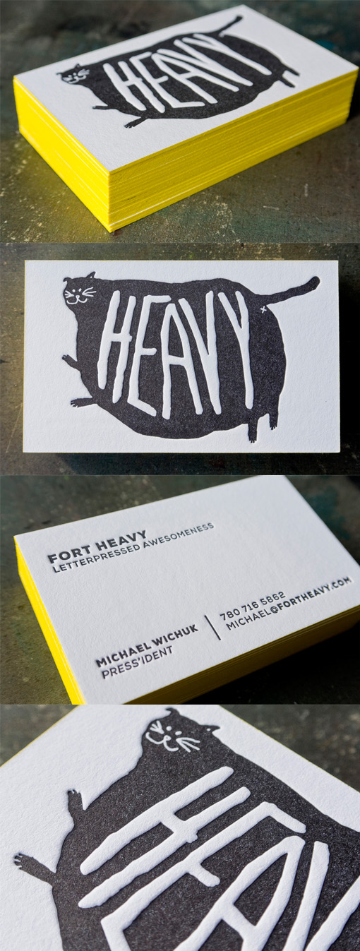 Quirky Neon Yellow Edge Painted Letterpress Business Card Design - Letterpress Business Card