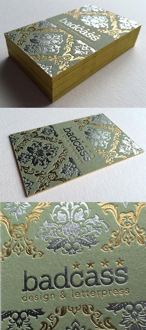 Vintage Damask Wallpaper Inspired Hot Foil Stamped Business Card