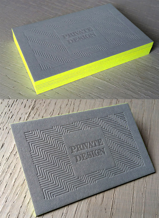 Textured Letterpress Business Card Design With Bright Neon Edge - letterpress business card