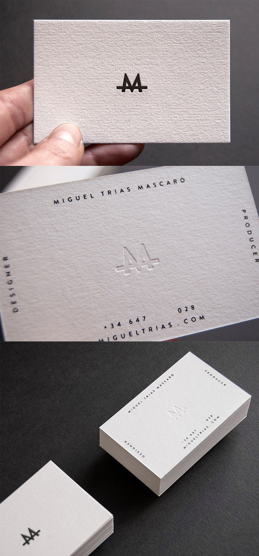 Slick Letterpress White Minimalist Design Business Card For A - letterpress business card
