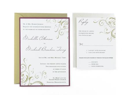 Corner Swirls - Free Wedding Invitation Template