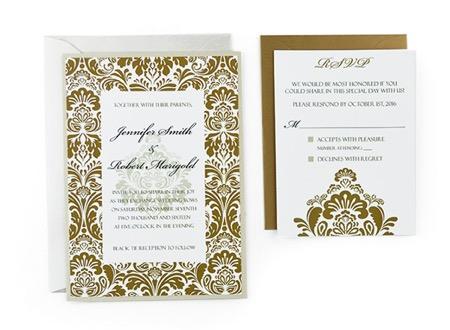 Damask - Free Wedding Invitation Template